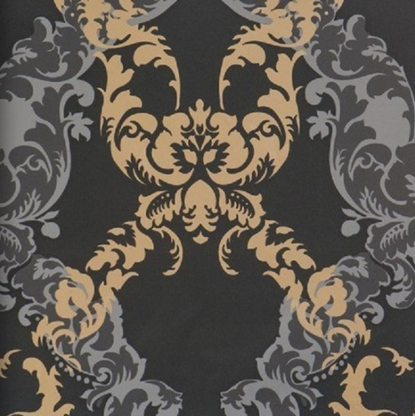 vliestapete barock muster ornament schwarz grau bronze metallic 48665 ornamentals tapeten. Black Bedroom Furniture Sets. Home Design Ideas