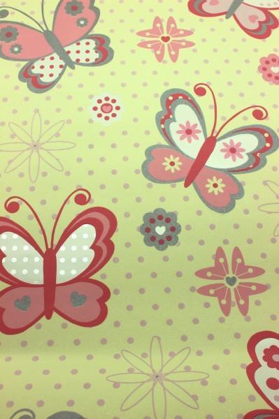 Kinderzimmer Tapeten Flieder : Vinyl Kinderzimmer Tapete Schmetterlinge Punkte Glitzer 400104 400106
