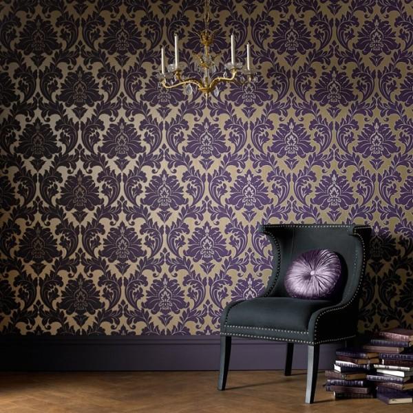 Barock Tapeten Gold Lila : Barock Ornament metallic effekt lila gold 30-434 – majestic Tapeten
