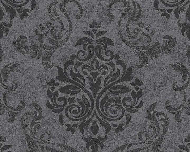 Barock Tapeten Kombinieren : Barock Ornament anthrazit grau glitzer effekt 95372-3 Tapeten